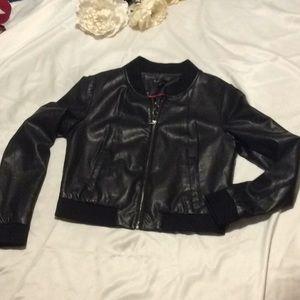Bagatelle black faux leather women's M bomber look